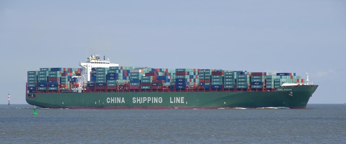 Containerschip op de Elbe | © Ecomare, Sytske Dijksen, Foto Fitis