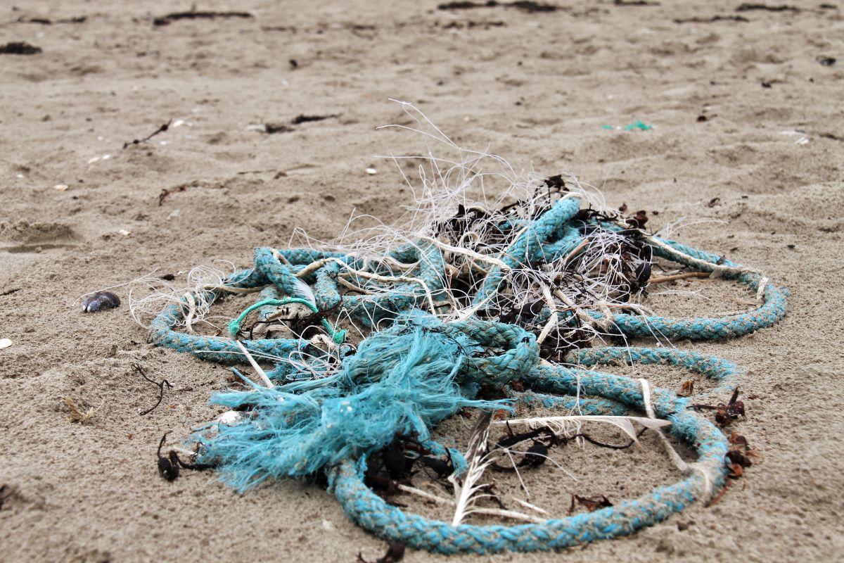 Resten van vissersnetten op het strand van Oostende | © VLIZ, Leontien De Wulf