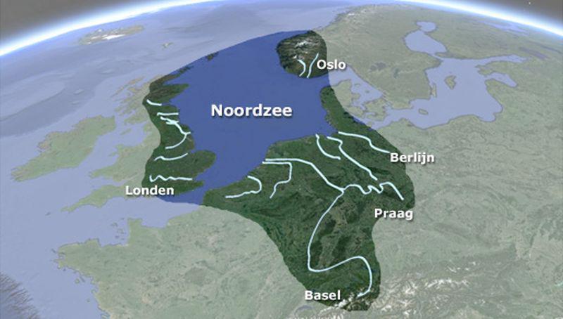 Stroomgebied van de Noordzee | ©Ecomare, Google Earth