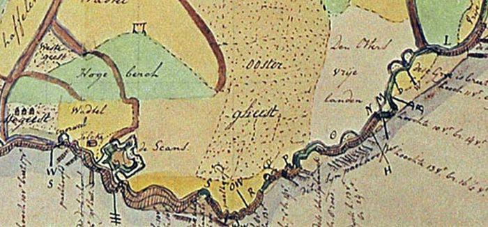 Zeewering van Zuidoost Texel | © Detail uit de kaart van Langedijck, 1595