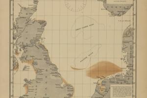 Verspreiding van platte oesters in de Noordzee in 1883   © Olsen, Wetenschappen